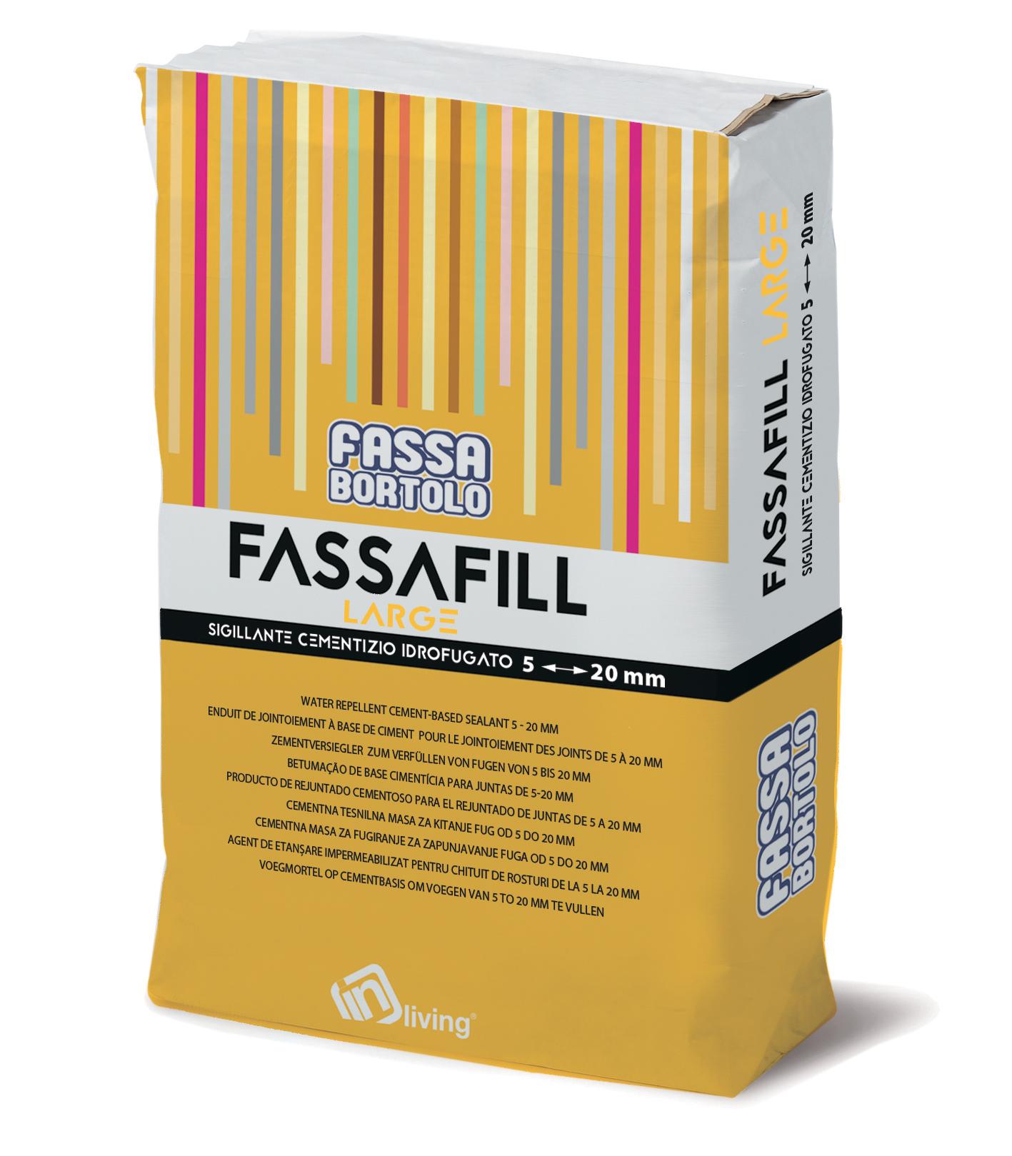 FASSAFILL LARGE: Mortier de jointoiement à base de ciment, hydrofugé, avec de hautes résistances mécaniques et une résistance à l'abrasion élevée, résistant aux moisissures et aux algues, pour réaliser des joints de 5 à 20 mm