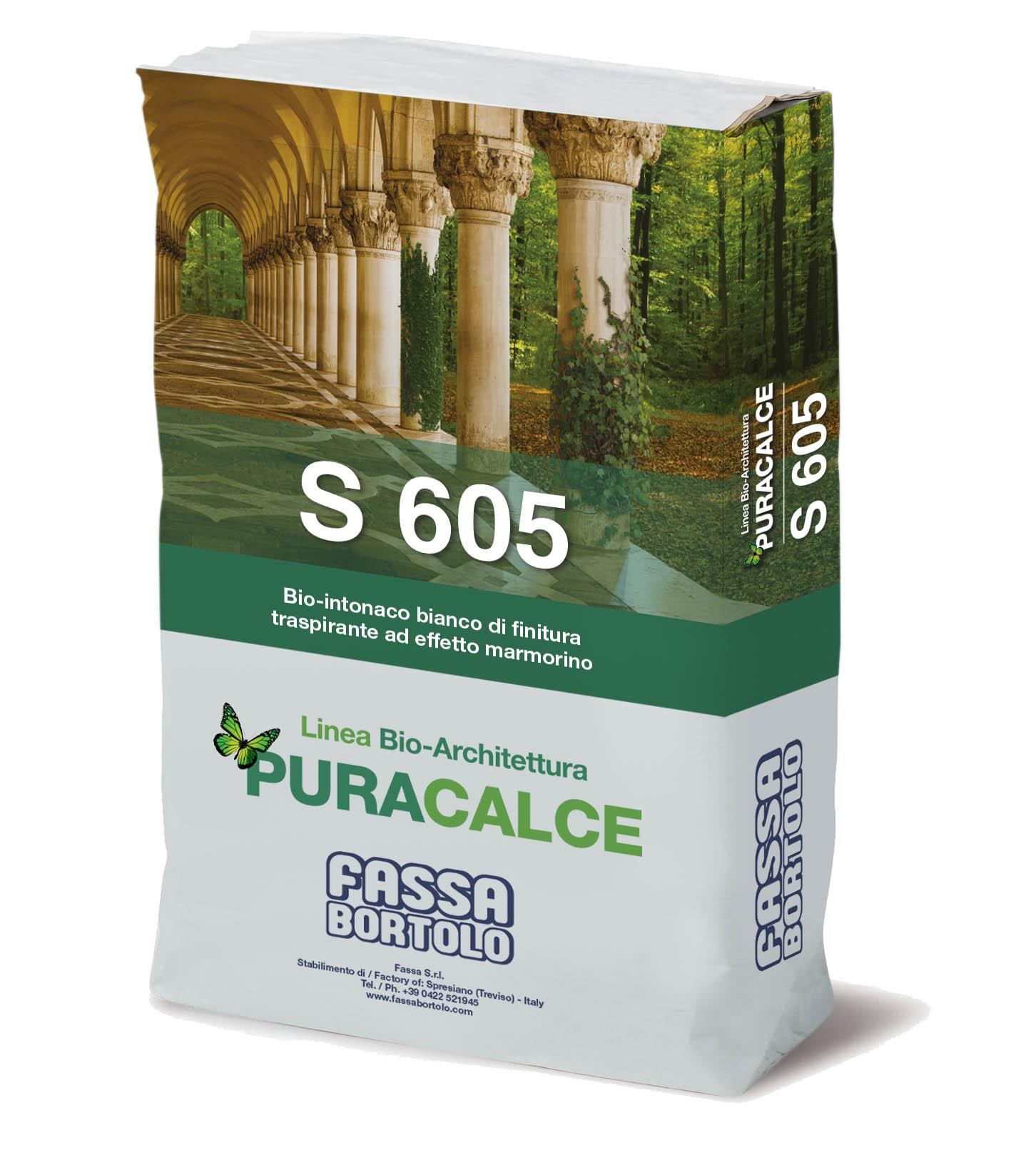 S 605: Enduit de finition naturel blanc, respirtan et à effet marbré, pour l'intérieur et l'extérieur