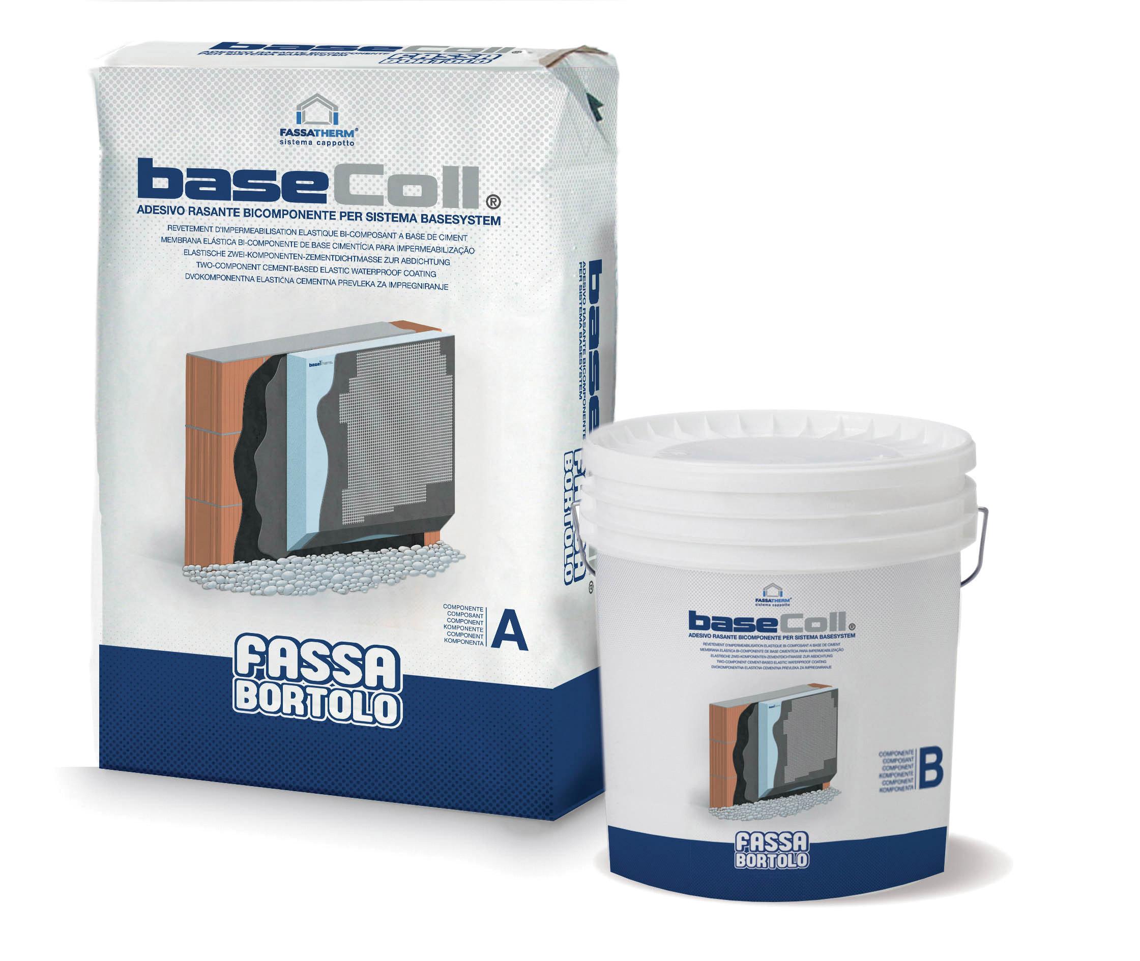 BASECOLL: Colle et couche de base imperméabilisante bi-composante à base de ciment, pour panneaux de soubassement en polystyrène