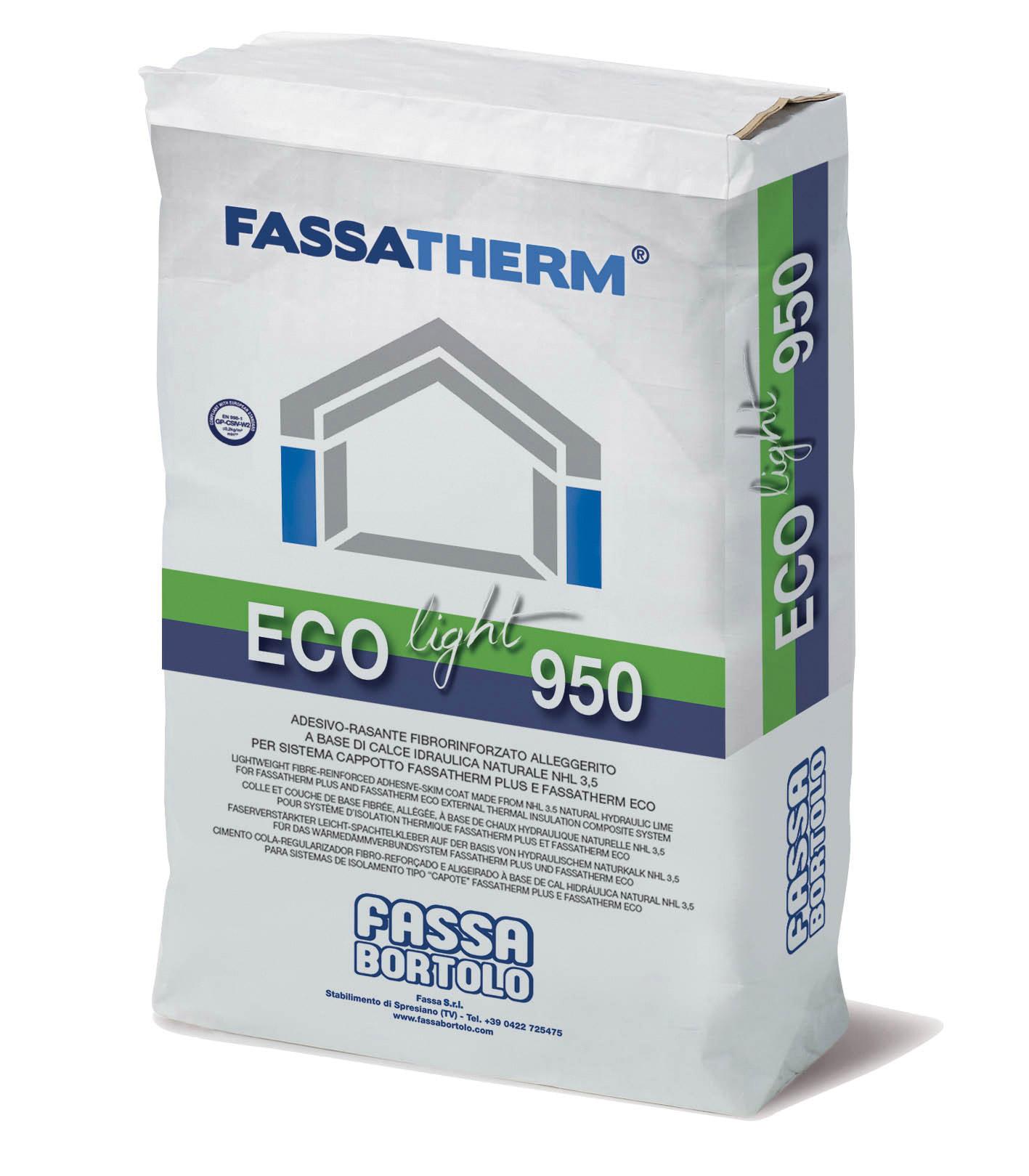 ECO-LIGHT 950: Colle et couche de base fibrée, allégée, à base de chaux hydraulique naturelle NHL 3,5, pour Système d'Isolation thermique par l'Extérieur Fassatherm PLUS et Fassatherm ECO
